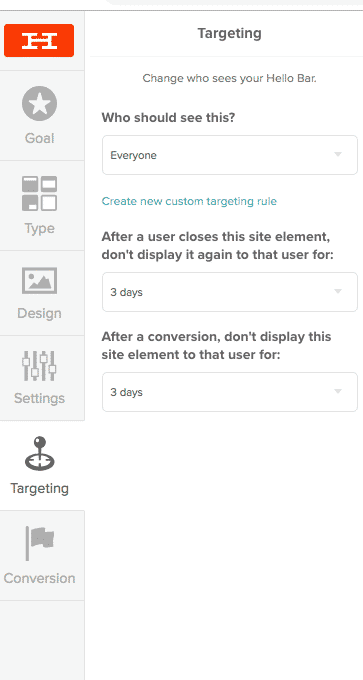 Use Hello bar email lead magnet target site visitors