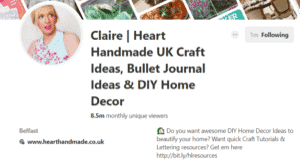 Copy of Claire HeartMade Pinterest account