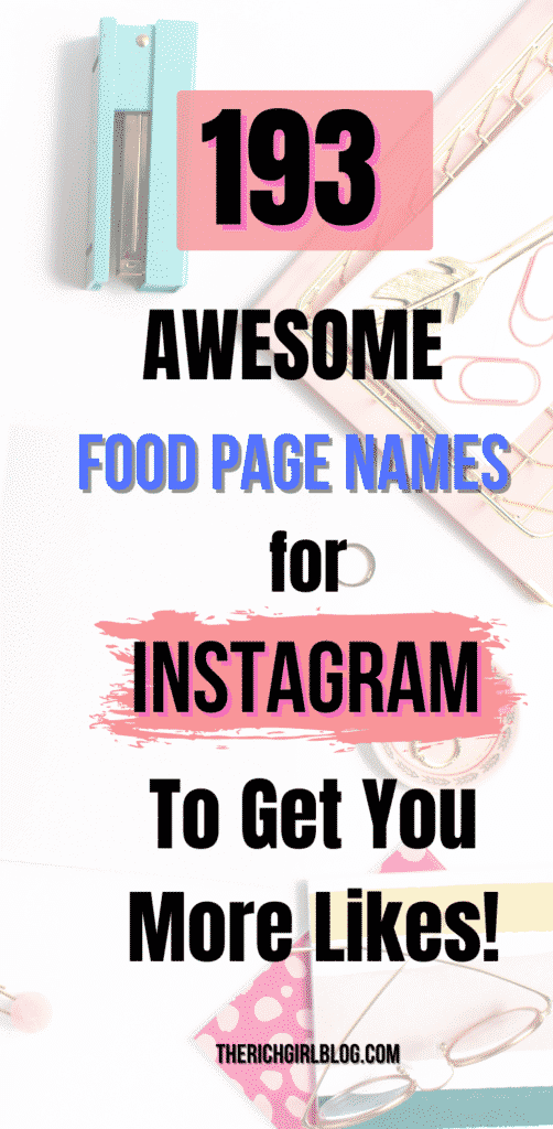 food page name for instagram